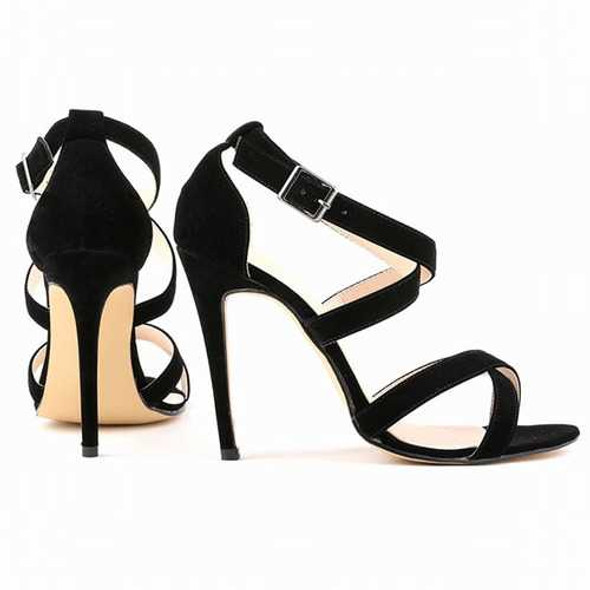 Large Size Strappy Peep Toe Buckle High Heel Sandals