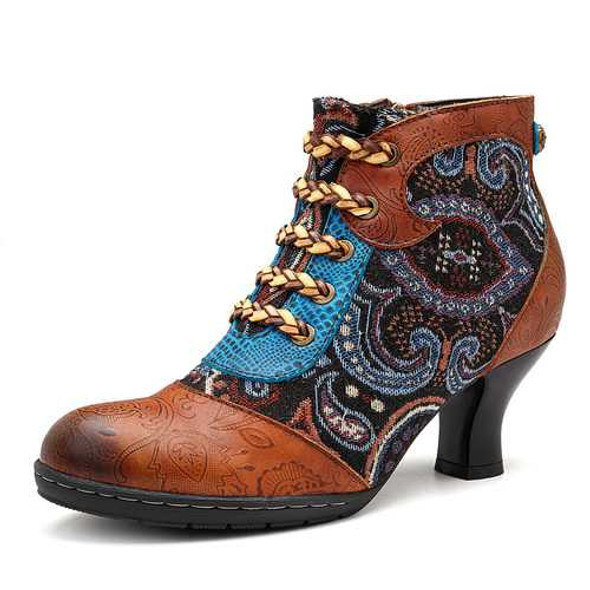 SOCOFY Bohemian Splicing Pattern Zipper Lace Up Ankle Leather Boots