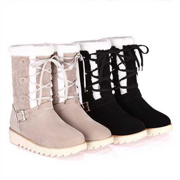 US Size 5-12 Flats Cotton Snow Boots Lace Up Fur Lining Ankle Boots