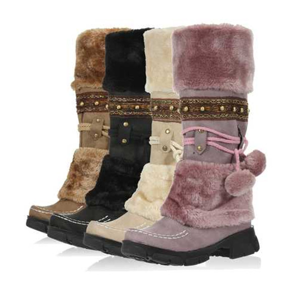 Women Lace Up Warm Mid Calf Snow Boots