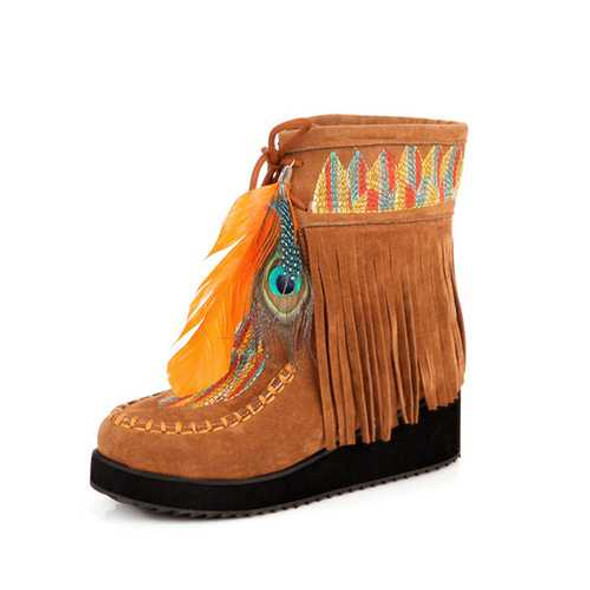 US Size 5-12 Women Fur Lining Embroidered Feather Tassels Wedge Ankle Boots