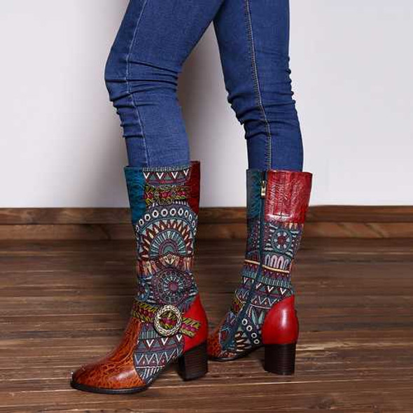 SOCOFY Genuine Leather Knee Boots
