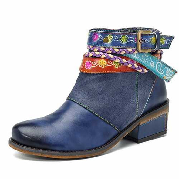 SOCOFY Women Handmade Weaving Strap Ankle Leather Boots