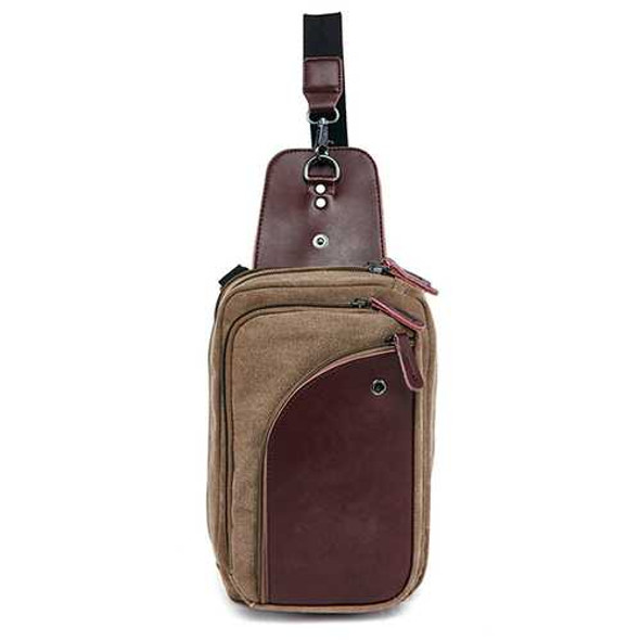 Men Canvas with Leather Retro Breathable Chest Bag Crossbody Bag Casual Travel Shoulder Bag