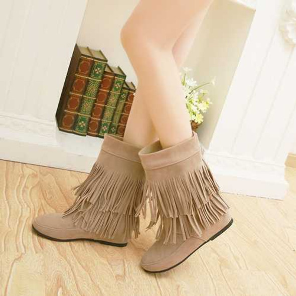 Women Casual Boots Outdoor Tassel Round Toe Slip On Flat Shoes