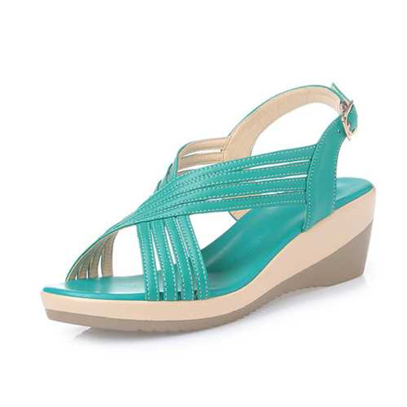 Genuine Leather Casual Comfy Wedge Sandals