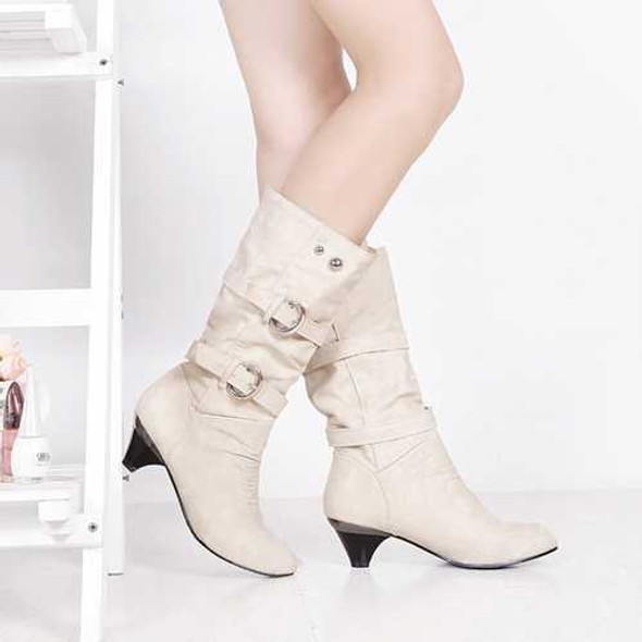 US Size 5-12 Women Mid-Calf Boots Slip On Casual Suede Soft Boots