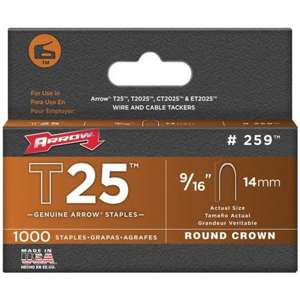 Arrow 259 T25 Round Crown Staples, 1,000 Pack (9/16 Inch)