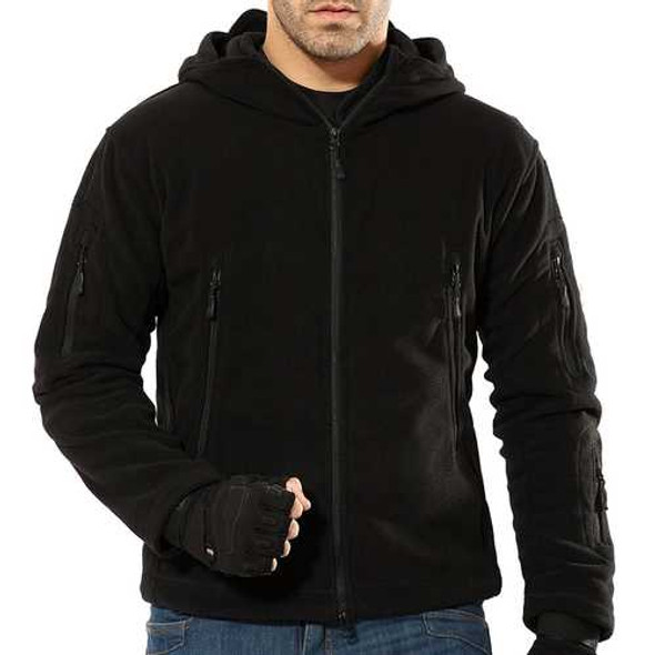 Mens Warm Fleece Outdoor Softshell Hooded Military Tactical Army Green Jacket