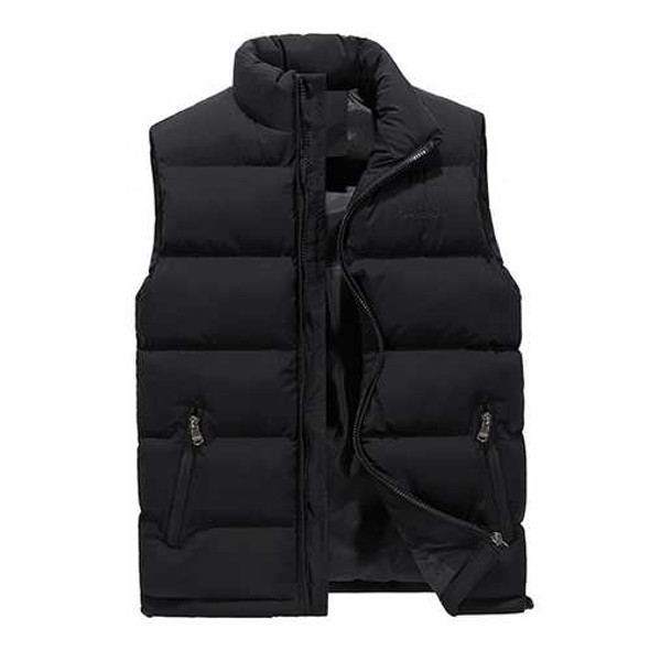 Thick Warm Sleeveless Coat Stand Collar Inluslated Padded Vest for Men Plus Size M-4XL