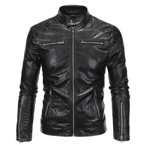Plus Size Mens Punk Style PU Jacket Stand Collar Motorcycle Cool Black Coat