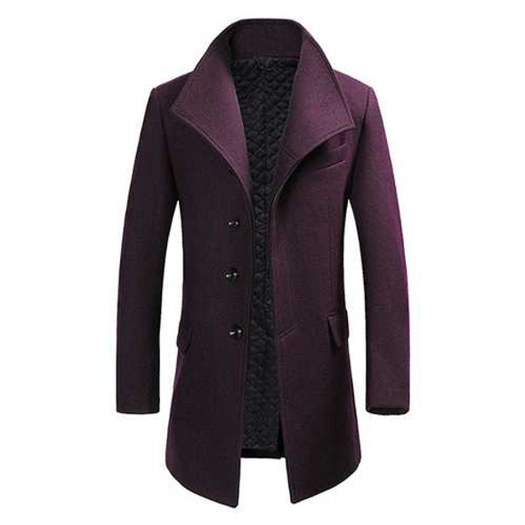 Mens Winter Single-breasted Woolen Blended Trench Coat Fashion Solid Color Overcoat