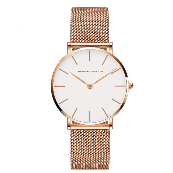 style: A Rose gold - Japan Quartz Movement High Quality 36mm hannah Martin Women Stainless Steel Me