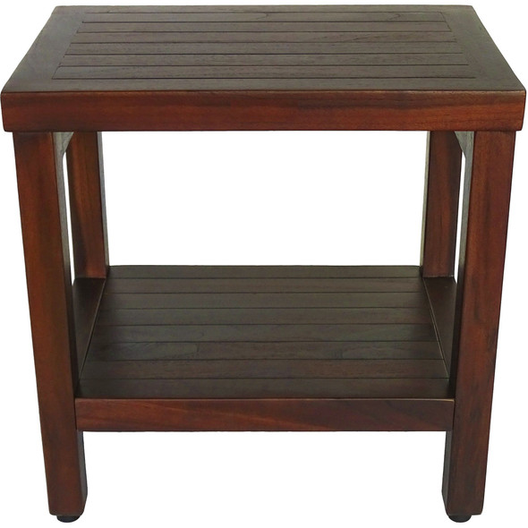 Compact Rectangular Teak Shower or Outdoor Bench with Shelf in Brown Finish