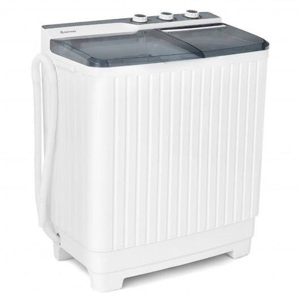 Portable Semi-automatic Washing Machine with Built-in Drain Pump-Gray
