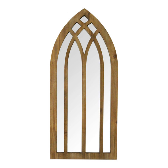 """36"""" Gothic Inspired Arch Wood Wall Mirror"""