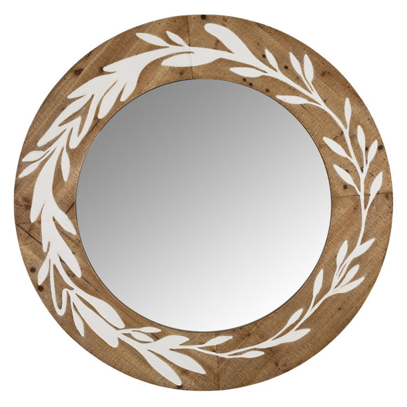 White and Natural Laurel Vine Carved Wood Wall Mirror