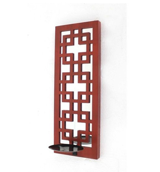"""17"""" x 5"""" x 6"""" Red, Vintage Wood, Lattice Mirror - Candle Holder Sconce"""