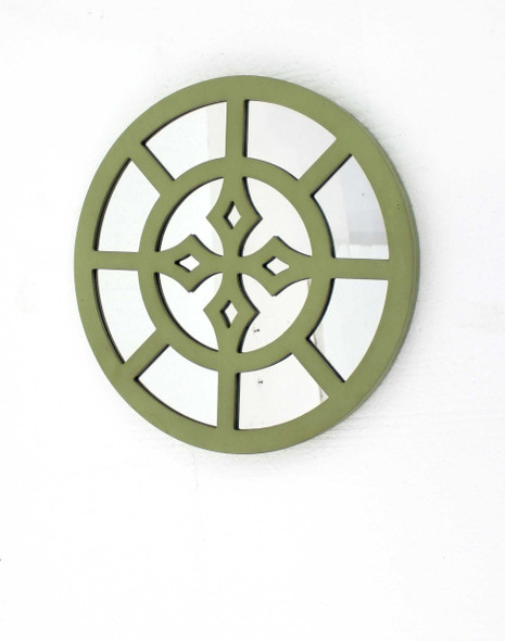 """15.5"""" x 15.5"""" Green, Rustic Mirrored, Round - Wooden Wall Decor"""