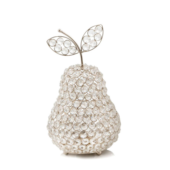 """12"""" Silver Pear Faux Crystal Sculpture"""