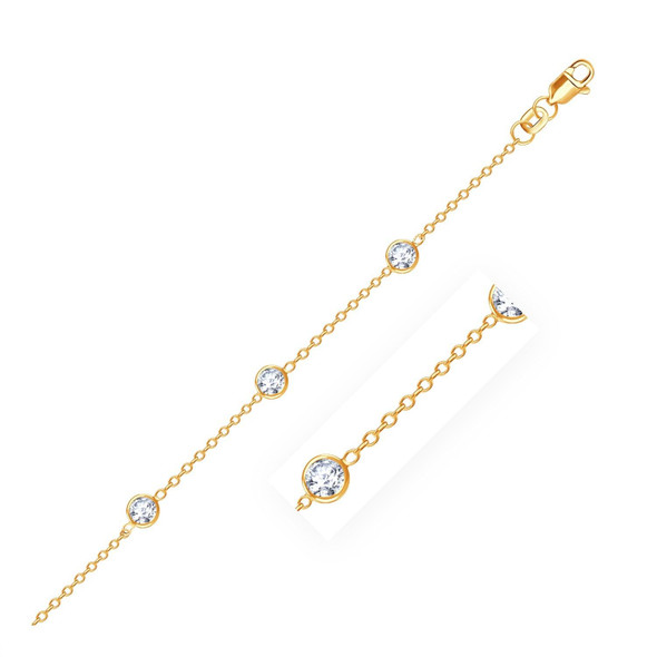 14k Yellow Gold Anklet with Round White Cubic Zirconia, size 10''
