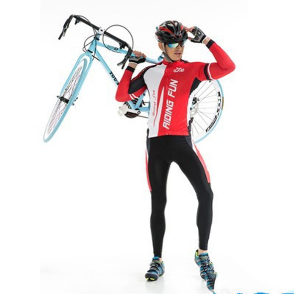 Summer cycling clothes for men and women - Color: Red plus velvet male, Size: XXL