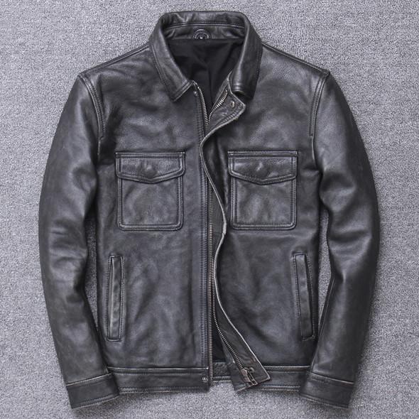 Vintage stone mill to make old leather coat - Color: Grey, Size: L