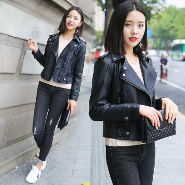 Color: Black Washed leather, Size: M - Wild leather women's short section Korean version of the pu