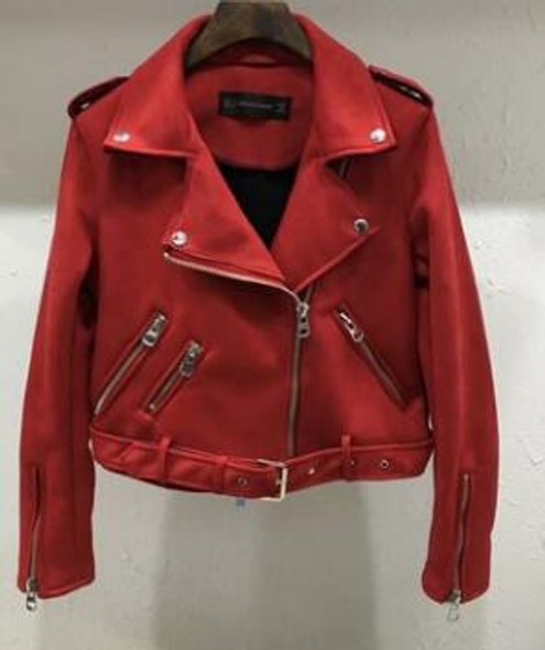 Color: Red, Size: XL - Suede zZipper Jacket