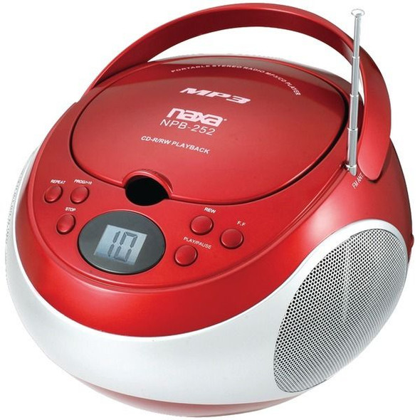 Naxa NPB252RD Portable CD/MP3 Player with AM/FM Stereo (Red)