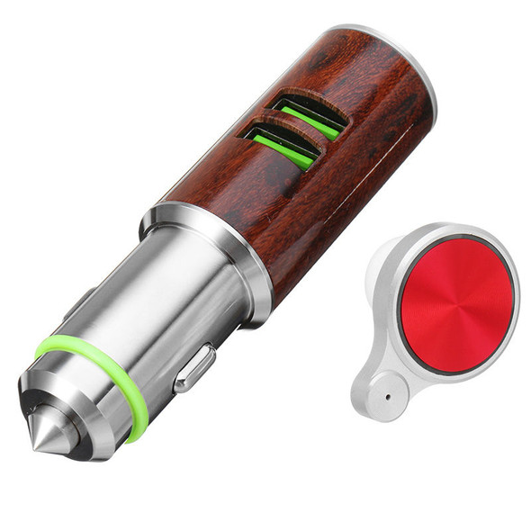 Car Charger Dual USB Hammer Port With bluetooth Earphone