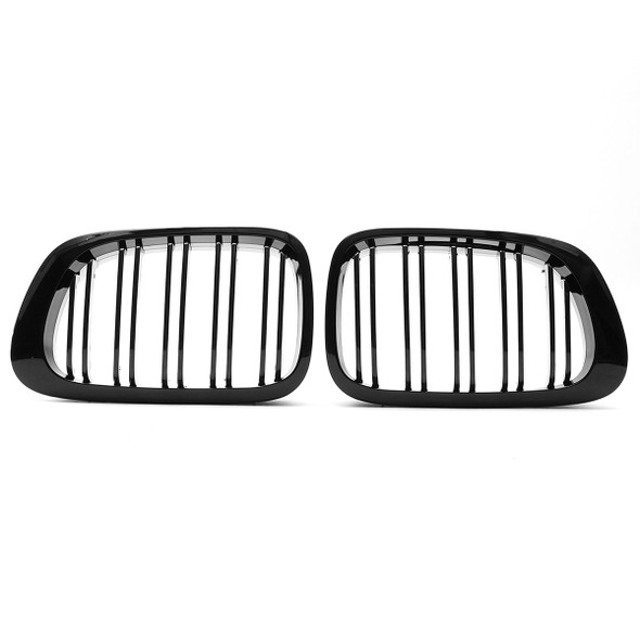 Car Front Right & Left Gloss Black Frontgrills For BMW E46 1998-2001