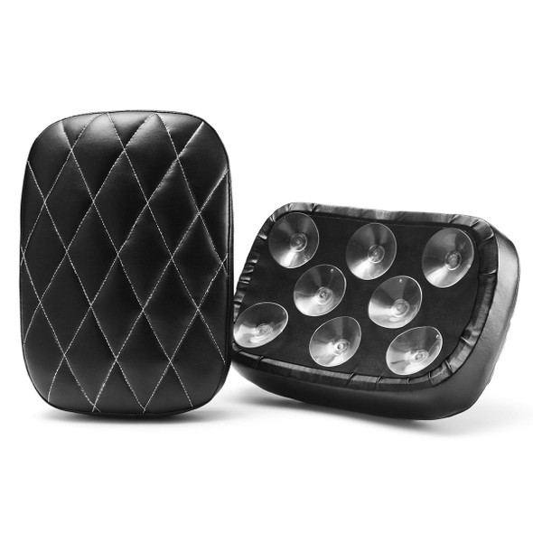 Rear Passenger Pillion Leather Seat Pad 6Suction 8 Suction Cup For Harley Softail Dyna