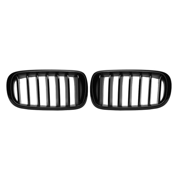One Pair Car Gloss Black Front Kidney Grille Grilles For BMW X5 F15 X6 F16 2014-2017