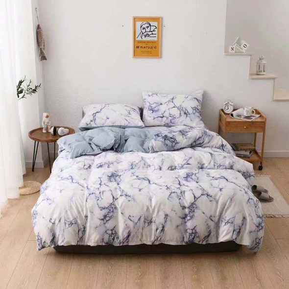 Color: Blue, Size: 210x210 - Three sets of textured stone quilt cover and pillowcase