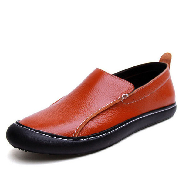 Men Leather Casual Outdoor Slip On Soft Fashion Flat Loafers