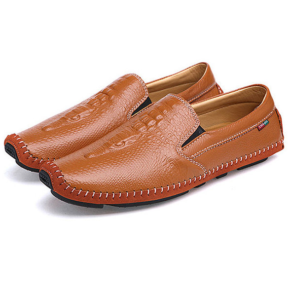 Men Flat Shoes Slip On Casual Outdoor In Leather