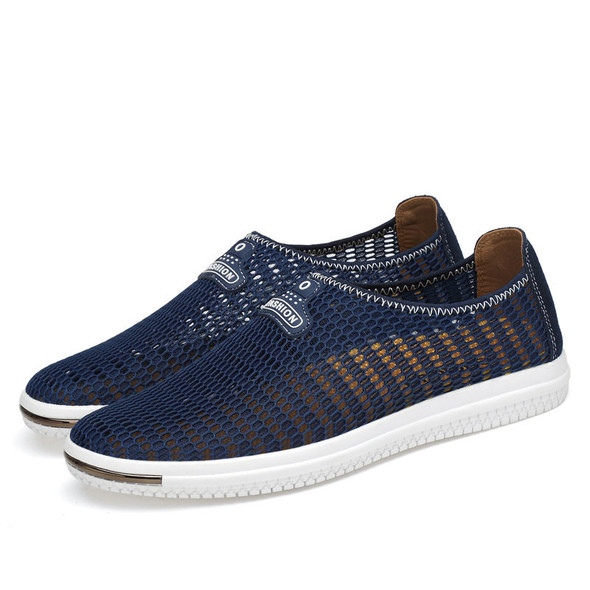 Men Casual Slip On Mesh Loafers Breathable Hollow Outs Flats