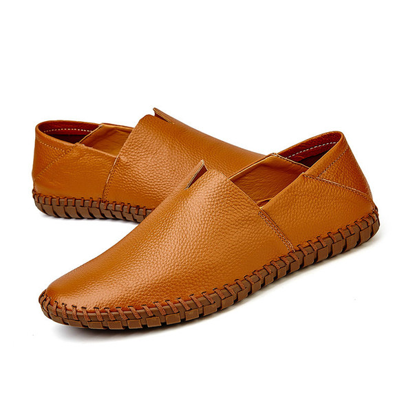 Large Size Men Soft Sole Genuine Leather Loafers Slip On Flats