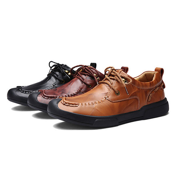 Men Lace Up Hand-made Casual Flat Oxfords