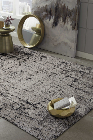 """94"""" X 130"""" Ivory or Grey Polyester Rug"""
