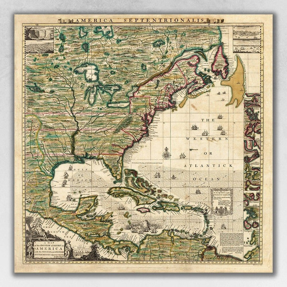 """18"""" x 18"""" Vintage 1773 Map of British Empire in North America Wall Art"""