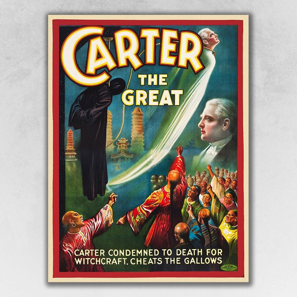 """8.5"""" x 11"""" Vintage 1926 Carter Witchcraft Magic Poster Wall Art"""