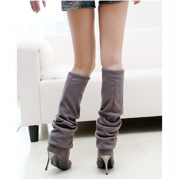 Color: Grey, Size: 43 - Pointed over-knee stretch high heel high boots