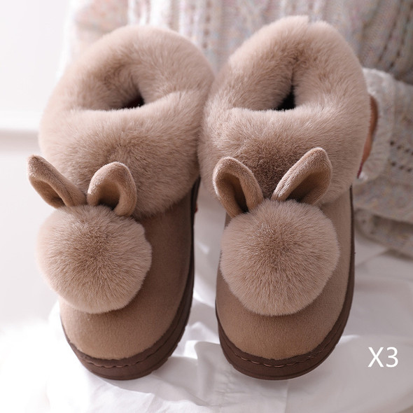 Color: Brown3PCS, Size: 38 to 39 - Autumn Winter Cotton Slippers Fur Rabbit Home Warm Thick Bottom