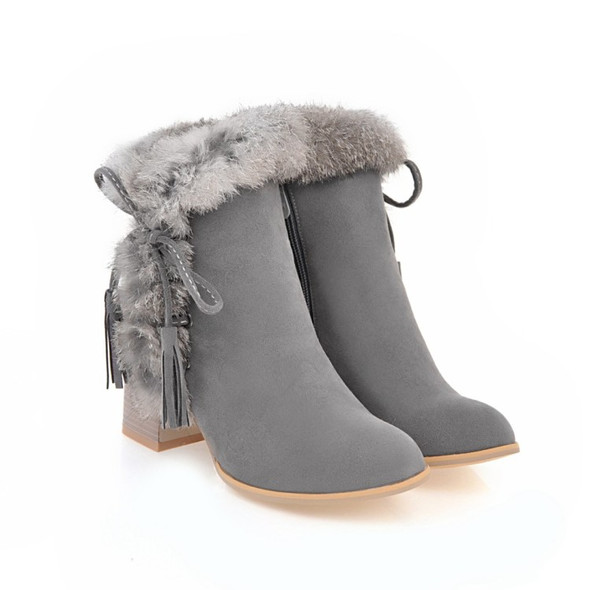 Color: Beige, Size: 39 - Faux rabbit fur lace-up chunky heel boots