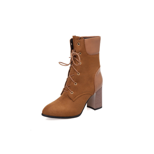 Color: Brown, Size: 43 - Thick heel lace up ankle boots plus size