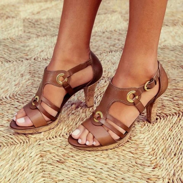 Color: Green, Size: 40 - High heel buckle cutout sandals