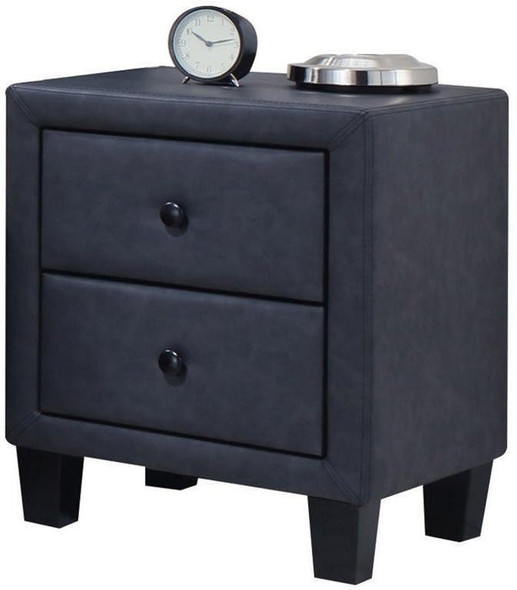 2-Tone Gray Upholstered Contemporary Nightstand