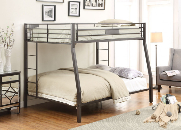 Black Metal Finish Twin over Full Bunk with Side Ladders